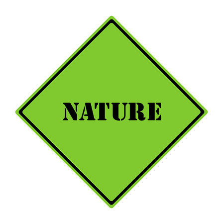 diamond shaped: A green and black diamond shaped road sign with the words NATURE making a great concept.