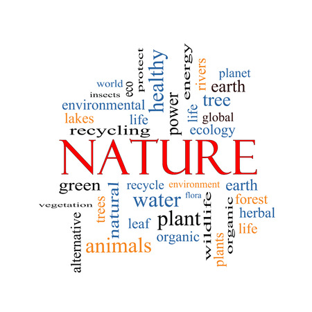 Nature Word Cloud Concept with great terms such as recycle, green, natural and more. Stock Photo