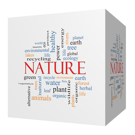 Nature 3D cube Word Cloud Concept with great terms such as recycle, green, natural and more.