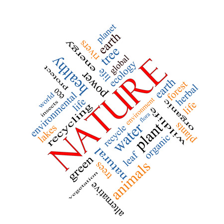 Nature Word Cloud Concept angled with great terms such as recycle, green, natural and more.