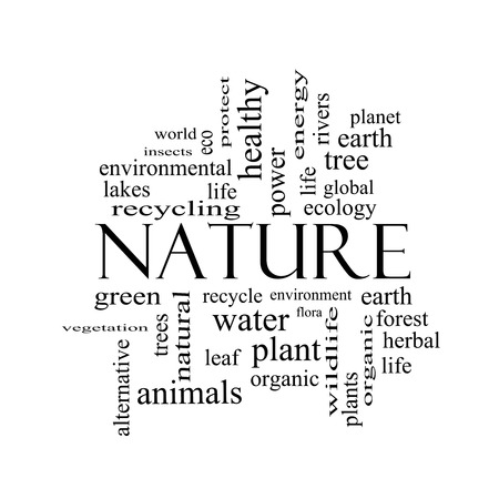 Nature Word Cloud Concept in black and white with great terms such as recycle, green, natural and more.