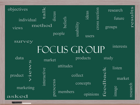 Focus Group Word Cloud Concept on a Blackboard with great terms such as research, users, listen and more.