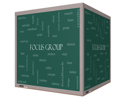focus group: Focus Group Word Cloud Concept on a 3D cube Blackboard with great terms such as research, users, listen and more. Stock Photo