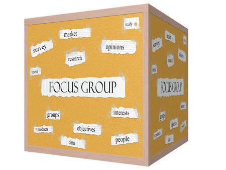 opinions: Focus Group 3D cube Corkboard Word Concept with great terms such as market, opinions, study and more. Stock Photo