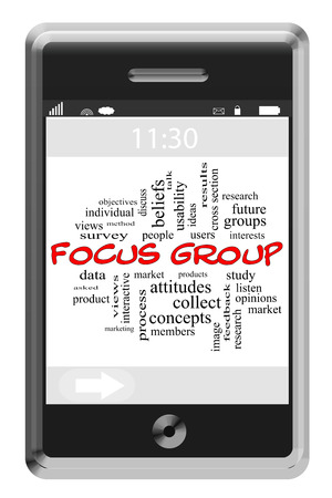 Focus Group Word Cloud Concept on a Touchscreen Phone with great terms such as study, research, views and more. photo