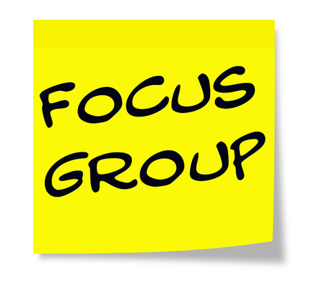 focus group: Focus Group written on a paper yellow Sticky Note making a great concept.