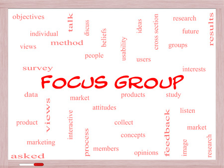 focus group: Focus Group Word Cloud Concept on a Whiteboard with great terms such as research, users, listen and more.