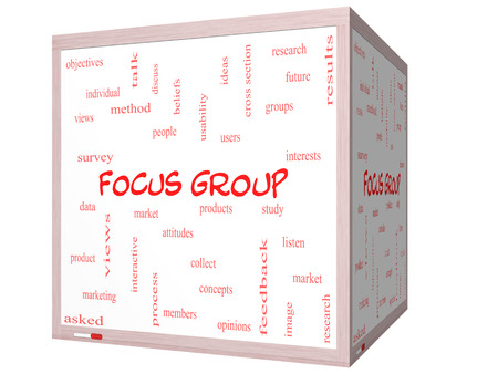 Focus Group Word Cloud Concept on a 3d cube Whiteboard with great terms such as research, users, listen and more. photo