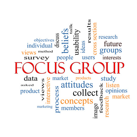 focus group: Focus Group Word Cloud Concept with great terms such as research, users, listen and more. Stock Photo