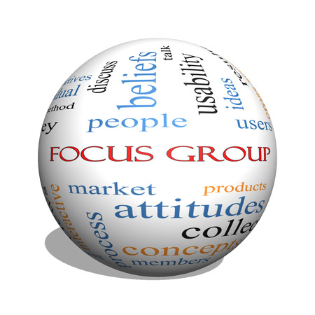 focus group: Focus Group 3D sphere Word Cloud Concept with great terms such as research, users, listen and more.