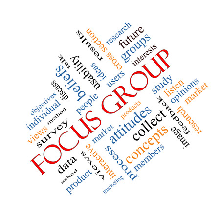 focus group: Focus Group Word Cloud Concept angled with great terms such as research, users, listen and more.