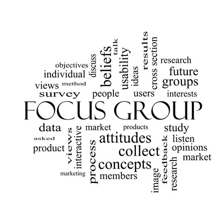 focus group: Focus Group Word Cloud Concept in black and white with great terms such as research, users, listen and more. Stock Photo