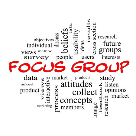 Focus Group Word Cloud Concept in red caps with great terms such as research, users, listen and more. photo
