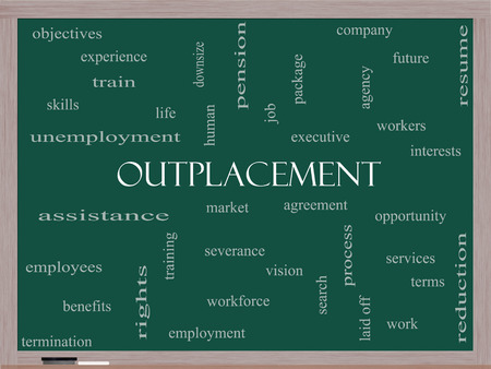 severance: Outplacement Word Cloud Concept on a Blackboard with great terms such as company, job, workers and more.