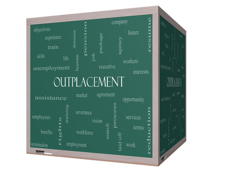 Outplacement Word Cloud Concept on a 3D cube Blackboard with great terms such as company, job, workers and more. Stock Photo