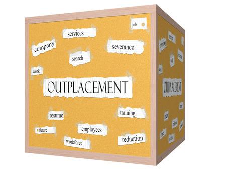 severance: Outplacement 3D cube Corkboard Palabra Concepto con los t�rminos de los servicios, el trabajo, la b�squeda y m�s.