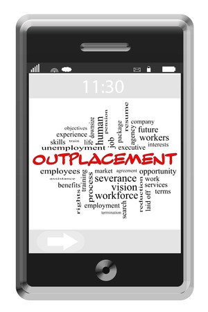 downsize: Outplacement Word Cloud Concept on a Touchscreen Phone with great terms such as job, search, services and more. Stock Photo