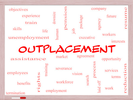 downsize: Outplacement Word Cloud Concept on a Whiteboard with great terms such as company, job, workers and more.