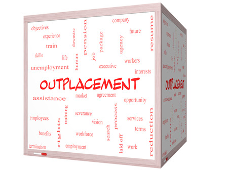 downsize: Outplacement Word Cloud Concept on a 3D cube Whiteboard with great terms such as company, job, workers and more.