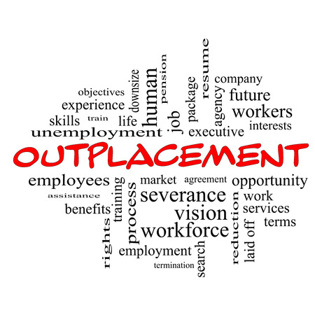 Outplacement Word Cloud Concept in red caps with great terms such as company, job, workers and more.