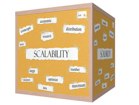 size distribution: Scalability 3D cube Corkboard Word Concept with great terms such as economic, size, research and more.