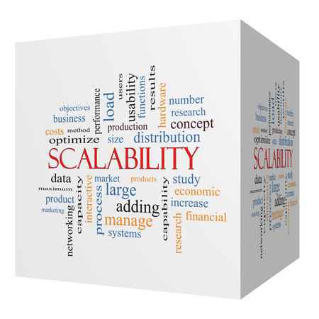 Scalability 3D cube Word Cloud Concept with great terms such as production, manage, systems and more.