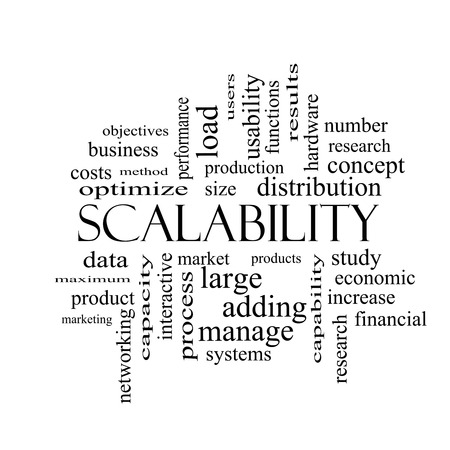 size distribution: Scalability Word Cloud Concept in black and white with great terms such as production, manage, systems and more.