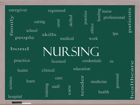 school nurse: Nursing Word Cloud Concept on a Blackboard with great terms such as licensed, skills, caring and more.