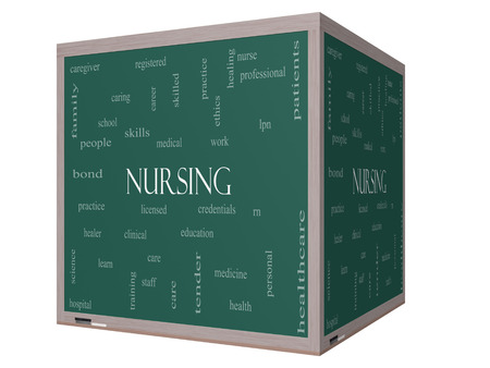 school nurse: Nursing Word Cloud Concept on a 3D cube Blackboard with great terms such as licensed, skills, caring and more. Stock Photo