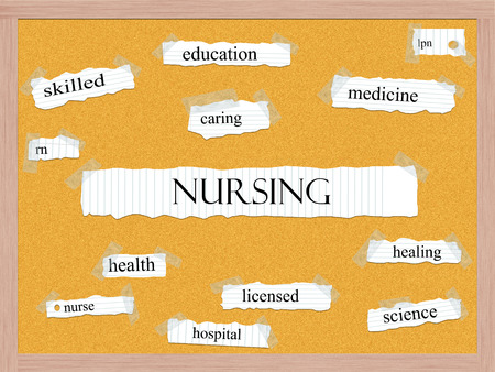 lpn: Nursing Corkboard Word Concept with great terms such as skilled, caring, health and more. Stock Photo