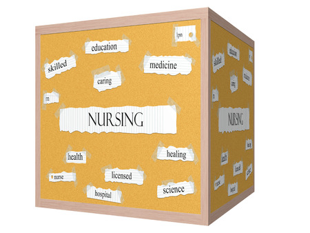 lpn: Nursing 3D cube Corkboard Word Concept with great terms such as skilled, caring, health and more.