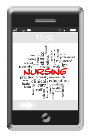 Nursing Word Cloud Concept on a Touchscreen Phone with great terms such as caring, healing, medicine and more. Stock Photo - 29003962