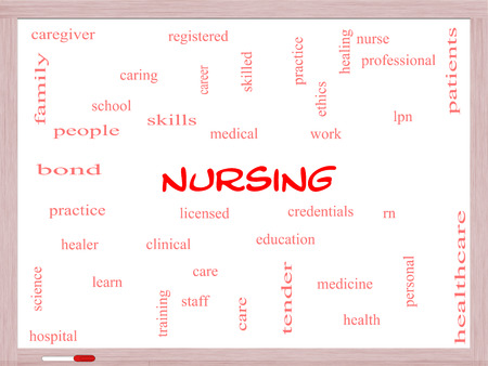school nurse: Nursing Word Cloud Concept on a Whiteboard with great terms such as licensed, skills, caring and more.