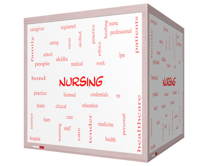 school nurse: Nursing Word Cloud Concept on a 3D cube Whiteboard with great terms such as licensed, skills, caring and more. Stock Photo