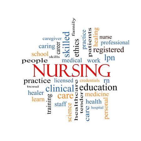 Nursing Word Cloud Concept with great terms such as licensed, skills, caring and more. photo