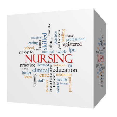 school nurse: Nursing 3D cube Word Cloud Concept with great terms such as licensed, skills, caring and more. Stock Photo