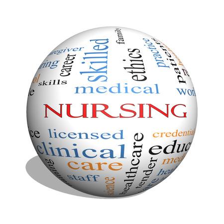 Enfermería 3D esfera Palabra Nube Concepto con los términos de acuerdo a los derechos, las habilidades, el cuidado y más. Foto de archivo