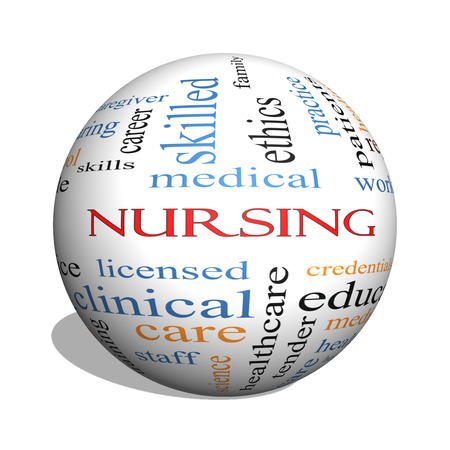 Nursing 3D sphere Word Cloud Concept with great terms such as licensed, skills, caring and more.