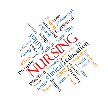 lpn: Nursing Word Cloud Concept angled with great terms such as licensed, skills, caring and more. Stock Photo