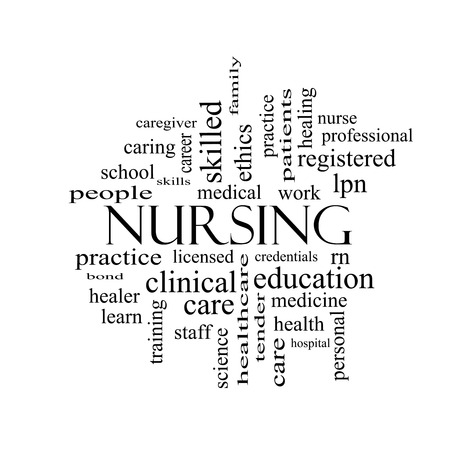 Nursing Word Cloud Concept in black and white with great terms such as licensed, skills, caring and more. Stock Photo - 29003969