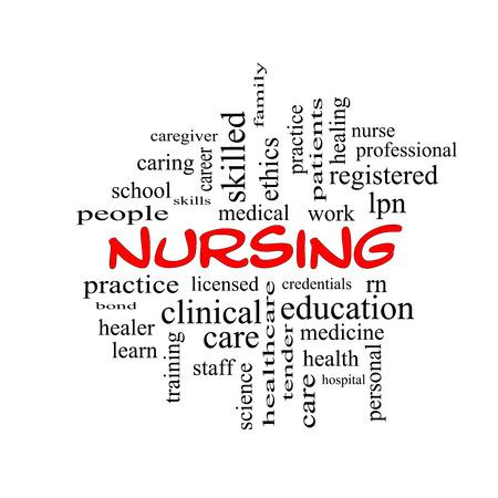 Enfermería Palabra Nube Concepto de gorras rojas con grandes términos como la licencia, las habilidades, el cuidado y mucho más.