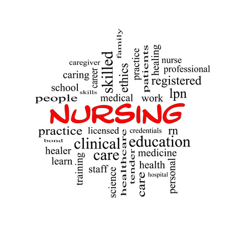practise: Nursing Word Cloud Concept in red caps with great terms such as licensed, skills, caring and more.