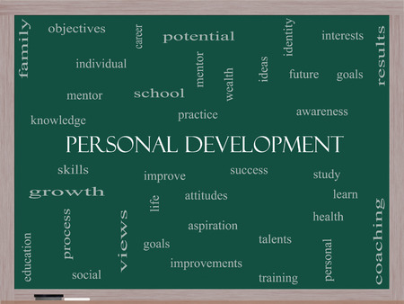 personal growth: Personal Development Word Cloud Concept on a Blackboard with great terms such as success, study, improve and more. Stock Photo