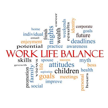 Balance de la vida Palabra Nube Concepto con los términos de la familia, del jefe, carrera y más.