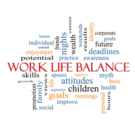 Work Life Balance Word Cloud Concept with great terms such as family, boss, career and more. photo