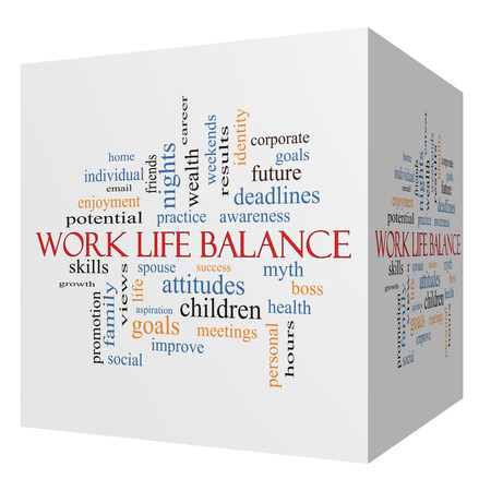 Work Life Balance 3D cube Word Cloud Concept with great terms such as family, boss, career and more.