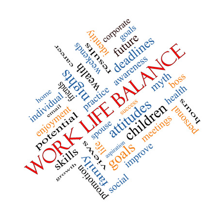 Work Life Balance Word Cloud Concept angled with great terms such as family, boss, career and more.