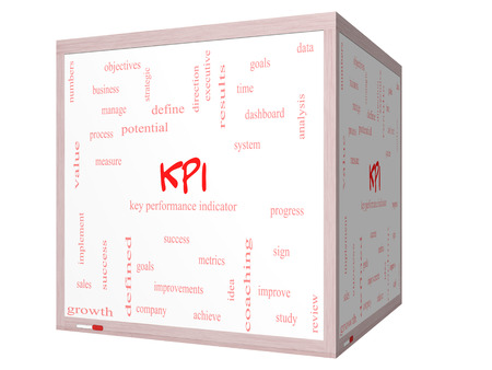 KPI Word Cloud Concept on a 3D cube Whiteboard with great terms such as key, performance, indicators and more. photo