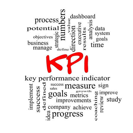 metrics: KPI Word Cloud Concept in red caps with great terms such as key, performance, indicators and more. Stock Photo