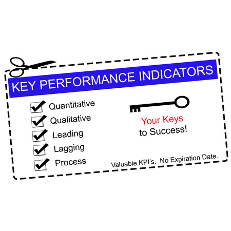 qualitative: A blue Key Performance Indicators Coupon with great terms such as quantitative, qualitative, leading and more. Stock Photo